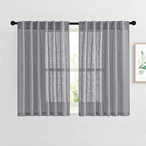 """NICETOWN Bathroom Window Curtains 45 inch Length, Natural Linen Textured Rod Pocket & Back Tab Semi Sheer Short Curtains Privacy with Light Through for Bedroom/Living Room, 52"""" Wide, Dark Grey"""