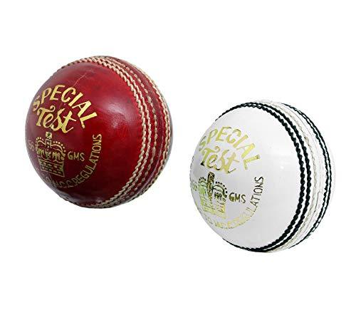 C&W Special Test - Juego de 2 Pelotas de críquet de Piel Trenzada (1 Rojo/1 Blanco) para Hombre, 4 Piezas, un día de 20 – 20 a Juegos, Resistentes, Resistentes al Agua, 156 g