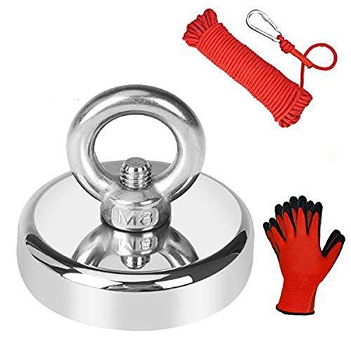 Jewan 150 KG Haftkraft Super Stark Neodym Ösenmagnet mit 20m Seil und ein Paar Handschuhe, Power Magnet Perfekt zum Magnetfischen - Ø 60mm mit Öse Neodymium Topfmagnet