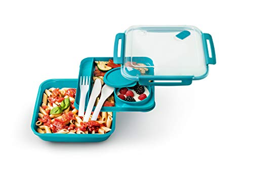 Rotho Memory B3 Lunchbox 1.1l mit Besteck und separatem Behälter, Kunststoff (PP) BPA-frei, blau, 1,1l (19,5 x 19,5 x 6,5 cm)