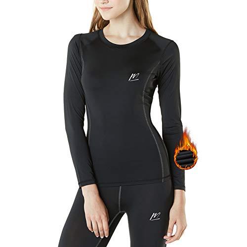 MeetHoo Biancheria Intima Termica Donna, Funzione Set di Biancheria Termica da Sci Maglia+Pantaloni Termici Base Layer Riscaldante Sport Ciclismo Corsa