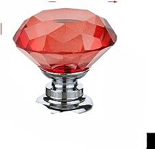 20 30 40mm Diamond Shape Design Crystal Glass Knoppen Kast Lade Pull Keukenkast Deur Garderobe Handvatten met Schroef-Rood