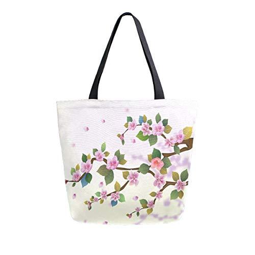 Bolsa de lona japonesa Sakura Cherry Blossom reutilizable para comestibles, bolsa de transporte con asas