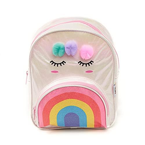 Inca. Mochila escolar niña. Mochila viaje. Mochila arco iris niña. Color blanco iriscente con pompones, bolsillo de arcoiris y ojos. Cierre con cremallera.