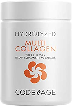 Codeage Multi Collagen Protein Capsules Type I II III V X Grass Fed & Hydrolyzed Collagen Pills Supplement All in One Collagen Bone Broth Amla Berry Source of Vitamin C Non-GMO 90 Count