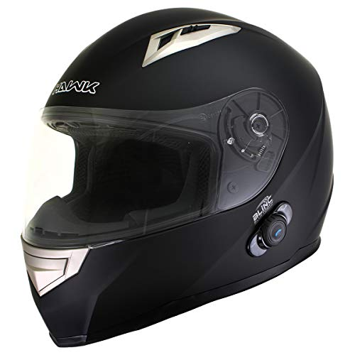 Hawk H500 Flat Black Bluetooth Full Face Motorcycle Helmet - Medium