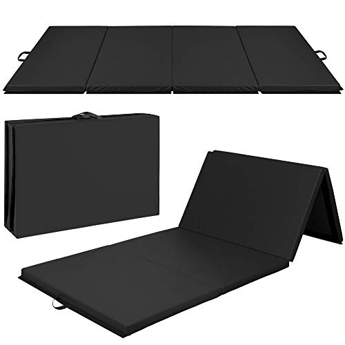 Best Choice Products 10ftx4ftx2in Folding Gym Mat 4-Panel Exercise Gymnastics Aerobics Workout Fitness Floor Mats w/Carrying Handles – Black