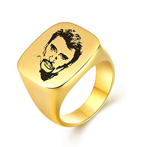 AFSTALR Bague Johnny Hallyday Homme Cadeau Signature Bague Chevalière Acier Inoxydable Anneau Bague Sceau, Or 12