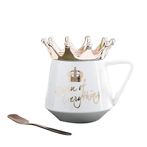 VELIHOME Fashion Design Copo de café xícara de chá com tampa e colher Crown Queen Cup feito à mão Verde azul cerâmica copo de café presentes para amigos colegas de quarto família ou crianças 10 onças