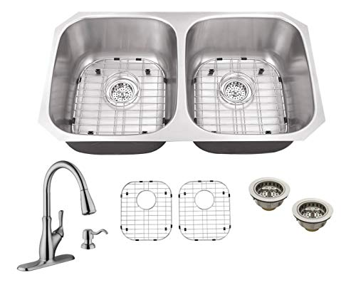 Soleil SSLX5050P7636 32-1/4-in x 18-1/2-in 16-Gauge Stainless Steel 50/50 Double Bowl Undermount Kitchen Sink with Gooseneck Faucet and Soap Dispenser in Brushed Nickel