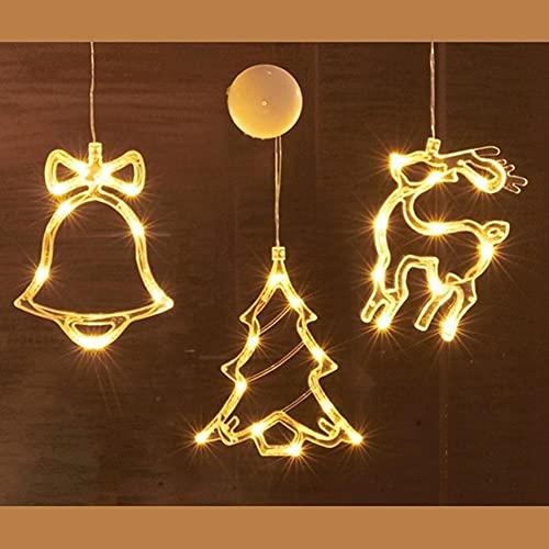 LLDE Cadena de luces LED con ventosa, color de la lámpara, decoración para colgar de Santa Claus vacaciones, atmósfera de Navidad, habitación, cristal o ventana