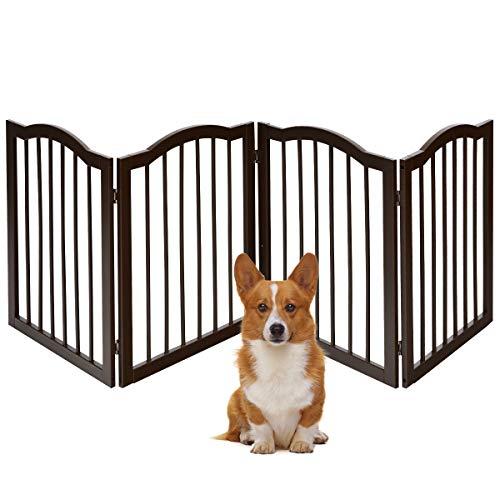 COSTWAY Barrera de Seguridad Plegable para Perros Valla Protección de Madera para...