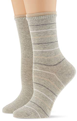 ESPRIT Damen Easy Stripe 2-Pack Socken, grau (storm grey 3820), 35-38 (2er Pack)
