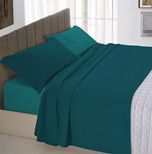 Italian Bed Linen Natural Color Completo Letto Doppia Faccia, 100% Cotone, Petrolio/Verde Bottiglia, Piazza e Mezza, 3 Unità
