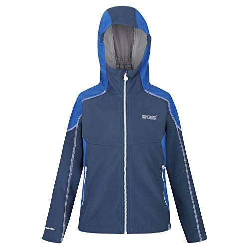 Regatta Acidity IV Shell Jacket, DkDen/NautBl, 11 Years Unisex-Child