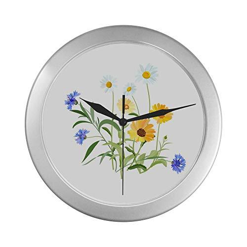 Reloj de pared redondo decorativo Flores Flores del campo Campo Prado Relojes de pared azules para hombres 9.65 pulgadas Marco de cuarzo plateado Decoración para oficina / escuela / cocina / sala de