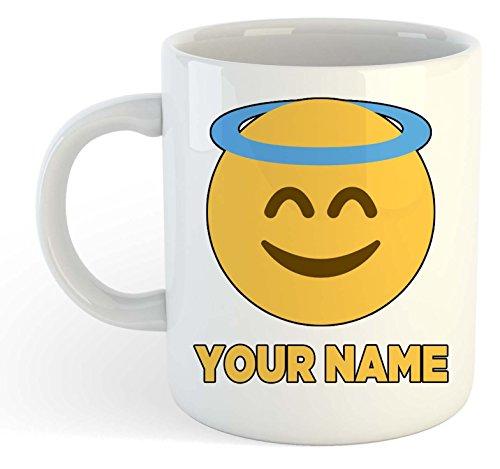 Taza personalizable con diseño de emoticonos de ángel y halo para añadir tu nombre