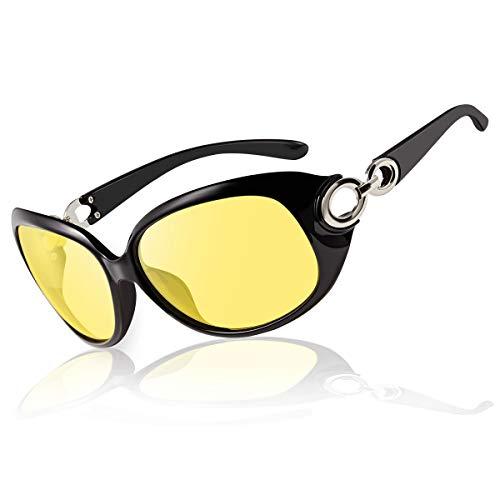 Bloomoak Nachtfahrbrille für Frauen, blendfrei, übergroße Polarisierte Nachtsicht-Autobrille, UV-Schutz, klare Sicht