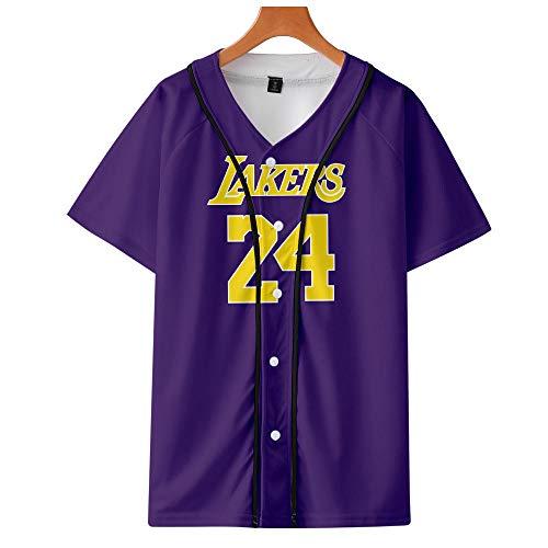 Camiseta de béisbol Camiseta Estampada en 3D Kobe Bryant Thin Baseball UniformLakers # 24 Legendary Basketball Star T-Shirt Black Mamba Tops
