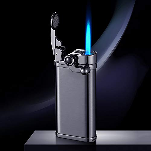 Laicengo Jet Torch Lighter with Punch, Visible Gas Tank and Adjustable Blue Flame, Windproof Lighter for Men/Father/Husband (Flue Not Included)