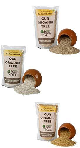 Organic Millet Combo Pack ( Little Millet / Proso / Foxtail / Kodo ) Gluten Free Pack of 3 400 g Each
