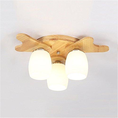 Jieer Mosquito Lamp, Candelabros Lámparas Colgantes Moderno Simple Madera Maciza Tres Cabezas E27 Candelabros de Techo Dormitorio Sala de Estar Lámparas (Color: luz cálida)