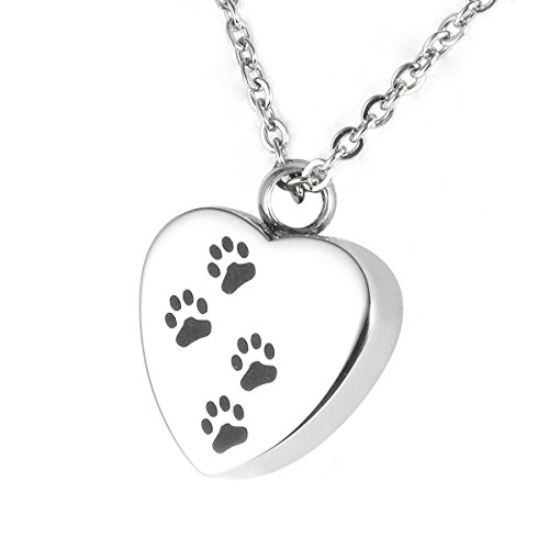 CPUK (TM PAW Prints Heart Cremation Jewellery Ashes Memory URN Keepsake Memorial Gift Stainless Steel ASH Locket Mens Women Unisex PET Holder Silver Tone Necklace Chain and Funnel Included