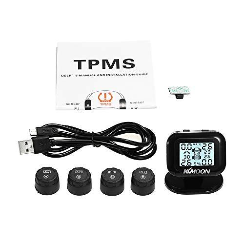 Reifendruck-Kontrollsystem,Tickas Tpms Reifendrucküberwachungssystem Drahtloses Echtzeit-Lcd-Display 4 Alarmfunktion Für Externe Sensoren