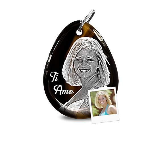 my-Pebbles: Edelstein als romantischer Schlüsselanhänger mit Gravur als personalisiertes Geschenk & persönliche Liebesgeschenke für Sie und Ihn mit Fotogravur gestalten | Pebble 2 Go Achat Schwarz