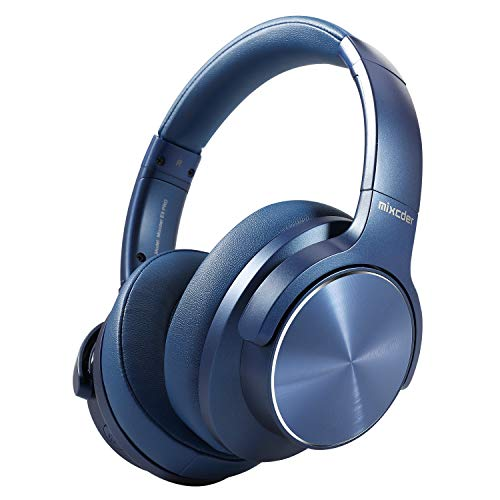 Wireless Noise Cancelling Headphones Bluetooth 5.0, Mixcder E9 PRO Foldable Over Ear Headset with Microphone, Quick Charge, aptX LL, 35 Hours Playtime - Pacific Blue