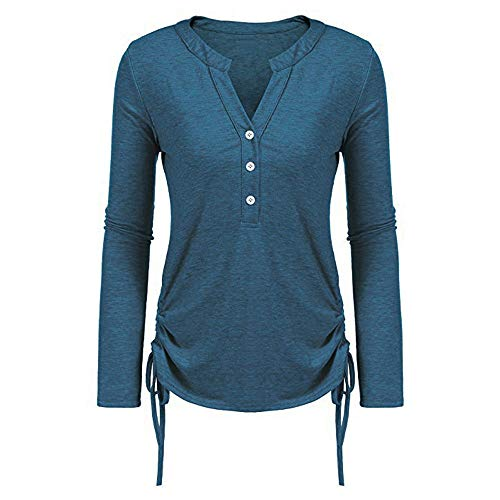 Abfall & Recycling Hanomes Damen Casual Pullover Lose Kariert Knopf Langarm Einfarbig Rundhalsausschnitt Sweatshirt Tops Bluse