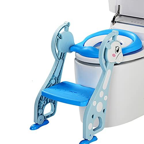 Barakara Asiento Inodoro Niños para Orinal Infantil Formación, Adaptador WC Niños con Escalera y Cojín Suave, Capacidad de carga máxima de 75 kg Abatible Antideslizante(Azul)