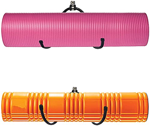 Wall Mount Yoga Mat Foam Roller and Towel Rack Hooks , Exercise Mat Storage Shelf for Hanging Yoga Strap and Resistance Bands at Your Fitness Class or Home Gym, Adjustable Size,Up to 20Lbs - (2 Pack)