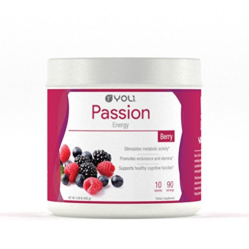 Yoli Passion Energy Drink - Sugar Free - Sweetwened with Stevia - Long Lasting Healthy Energy Without Jitters (Canister, Berry)