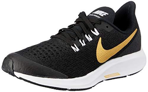 Nike Air Zoom Pegasus 35 SH GS, Zapatillas de Deporte Mujer, Multicolor (Black/Metallic Gold/White 001), 38 EU