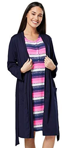 HAPPY MAMA Damen Umstands und Still Nachthemd Nachtwäsche Set Bademantel 2006 (Neon Rose Streifen mit Marine, 40, L)
