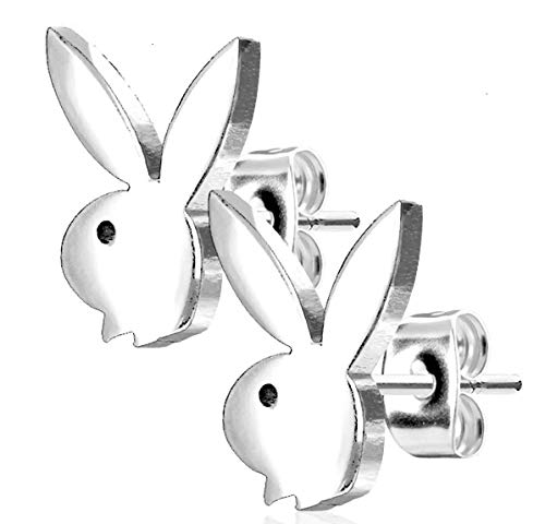 Playboy Bunny 316L Stainless Steel Earring Studs Pair (Silver)