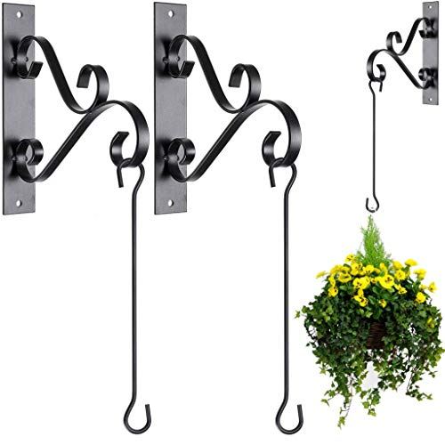 2-Pack Hanging Plants Brackets with Curved Iron Hooks - Hanging Planters with Hooks for Hanging Plants, Flower Baskets, Bird Feeders, Wind Chimes, Lanterns - Decorative Outdoor Wall Plant Hangers