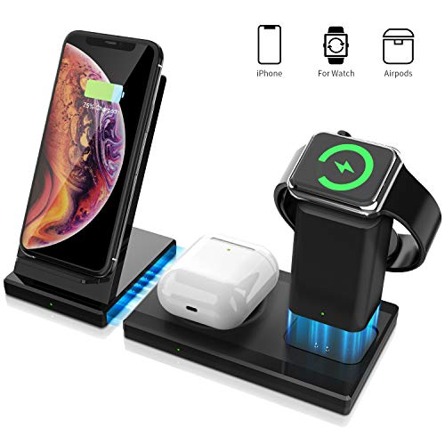 WAITIEE 3 in 1 Wireless Charger Qi Certified 7.5W Fast Stand Compatible, Airpods, Detachable and Magnetic Wireless Charging Stand for iPhone 11/11 Pro Max/X/XS/XR/Xs Max/8/8 Plus (Black)