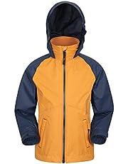 Mountain Warehouse Torrent Chaqueta Impermeable para niños - Costuras Selladas, Bolsillos con Cremallera, características Ajustables - Ideal para Acampar, Excursionismo