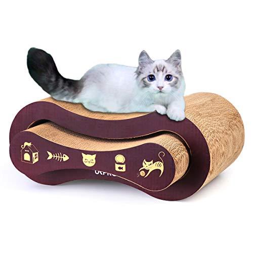 URPRO Cat Scratcher, 2-in-1 Cat Scratcher Cardboard, Cat Sofa, Cat Scratching Pad, Cat Furniture, Cat Bed, Cat Scratching Post