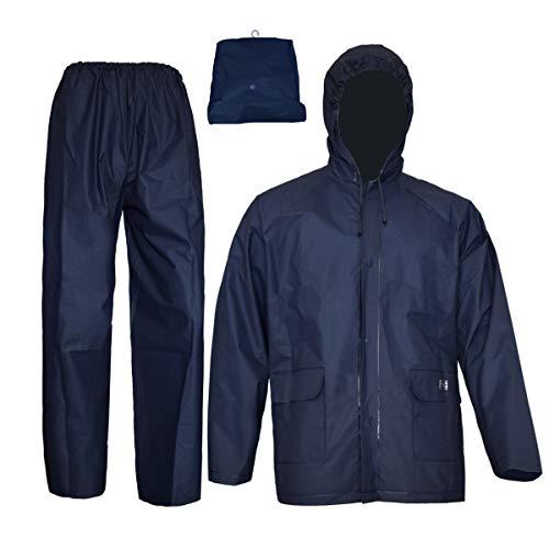 Rain Coat for Women Men Waterproof Jacket with Pants 2Pcs Ultra-Lite Suits EVA Reusable Portable Packable(Medium, Navy)