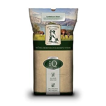 Mühldorfer IQ Landwiesen-Mash Aliments pour Chevaux, sans céréales ni mélasse, Riches en Structure, pauvres en Sucre, avec Herbes et Chips de légumes - 12,5kg