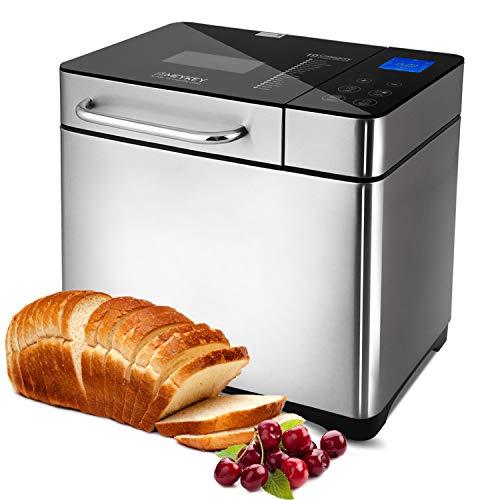 Panificadora automática de 710 W, con caja de ingredientes automática, 19 programas, acero inoxidable, para 500 – 1000 g, con función de temporizador de 15 horas, ventana de visión, color plateado