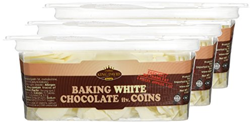King David Kosher Easy Melt Non Dairy White Baking Chocolate Flavored Coins 12.34-ounce Jars (Pack of 3)