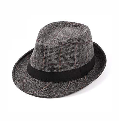 Upstore Herren Klassische Karomuster Manhattan strukturiert Gangster Trilby Fedora Hut Cuban Style Derby Hut Jazz Cap