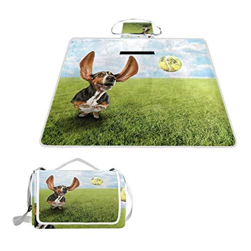 TIZORAX Basset Hound Hund Jagd Tennis Ball Picknickdecke Wasserdicht Outdoor Decke Faltbare Picknick Handliche Matte Tragetasche für Strand Camping Wandern