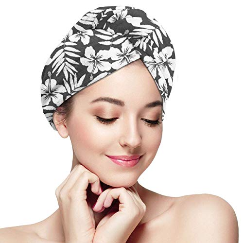 Enveloppement de cheveux à séchage rapide, Artisan exotique Hibiscus fleurs feuilles de fougère motif Nature plante photo thème Art, bonnet de douche absorbant