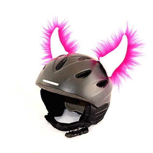 Helm-Ohren Hörner für den Skihelm, Snowboardhelm, Kinder-helm, Kinder-Skihelm oder Motorradhelm - verwandelt den Helm in ein EINZELSTÜCK - der HINGUCKER - für Kinder u. Erwachsene HELMDEKO (Pink-Weiß)