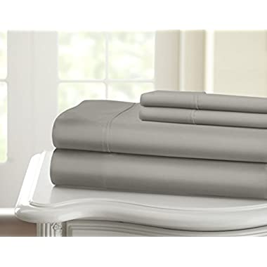 Hotel Supreme 1200TC 100% Egyptian Cotton Superior Wrinkle Resistant 4PC Bed Sheet Set (Queen, Gray)